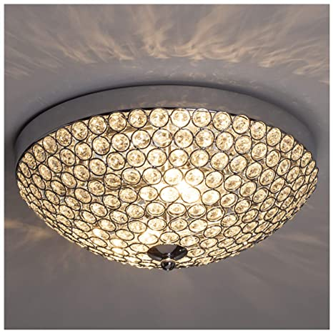 GLANZHAUS Modern Design 11.8 Inches Small Clear Crystal Beads Bowl Shaped  Chrome Finish Base Chandelier Crystal Ceiling Light, Flush Mount Ceiling ...