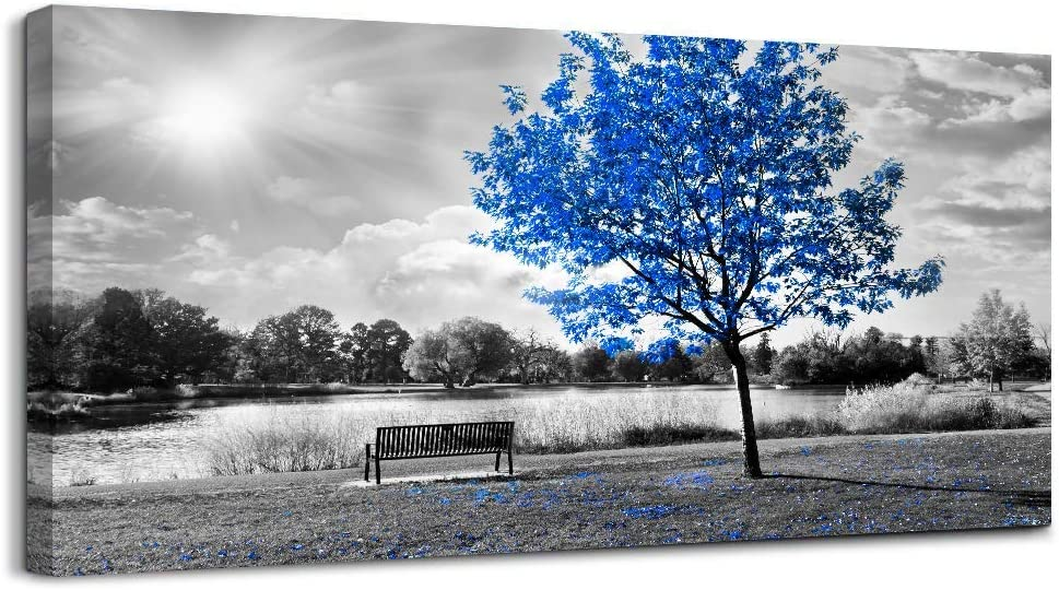 Canvas Wall Art for Bedroom Black and Blue Maple Tree Canvas Art Prints Maple Forest with Leaves Wall Decor Artwork Picture Painting Home Decor for Living Room