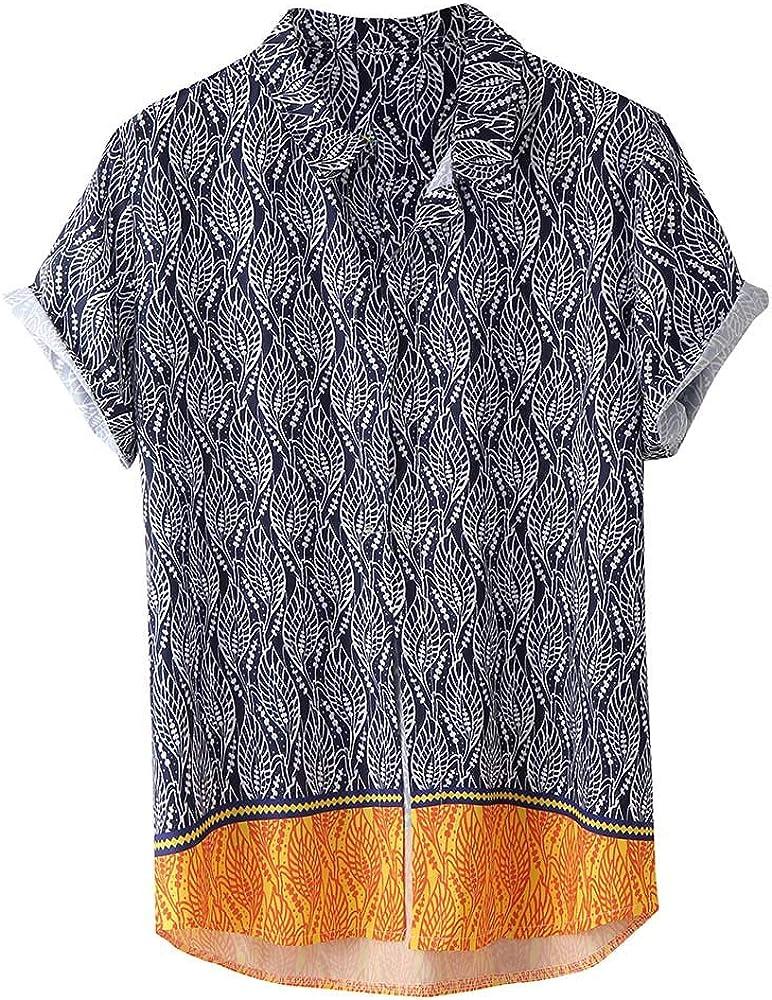 Moda Explosión Estilo Hawaiano Ocio Estampado De Rayas Hombre Manga Corta Camisa Cómodo Ocio Suelto Ligera Hombres Camisas Tops Cárdigans T-Shirt Fresco Hombre Ropa A orillas del mar Estilo MEIbax: Amazon.es: Ropa