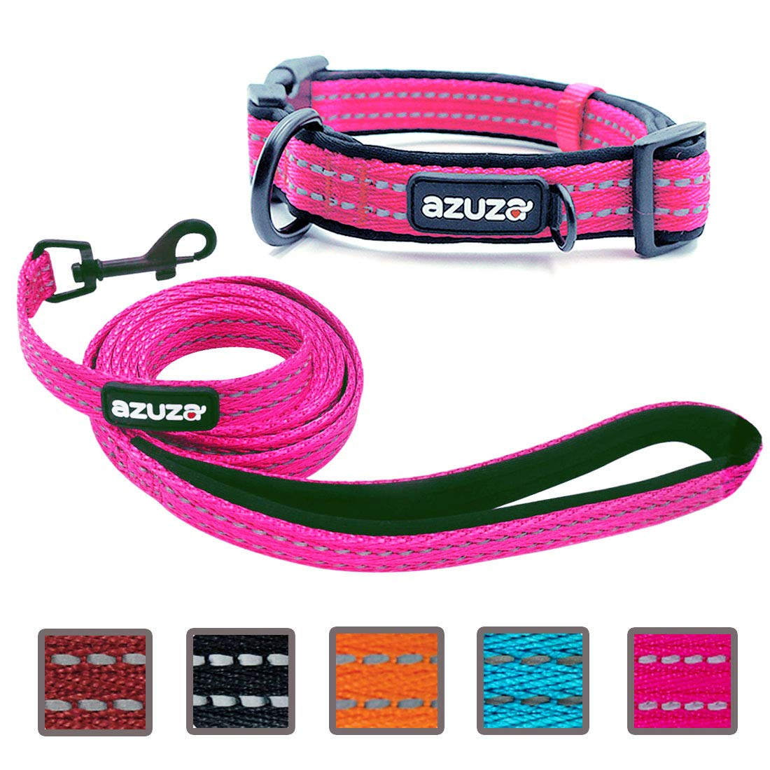 Hot Pink Medium Hot Pink Medium azuza Durable Padded Dog Leash and Collar Set, Reflective Strip Extra Safe and Comfy for Medium Dogs, Hot Pink