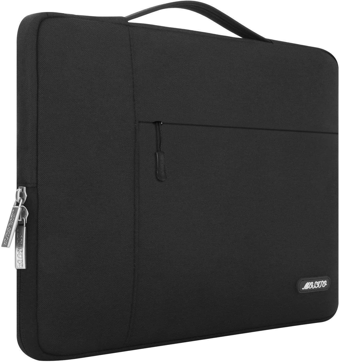 MOSISO Laptop Sleeve Compatible with 13-13.3 inch MacBook Air, MacBook Pro, Notebook Computer, Polyester Multifunctional Briefcase Carrying Bag, Black