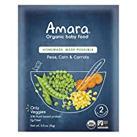 Amara Organic Baby Food | Peas, Corn & Carrots | Homemade Made Possible | Mix with...