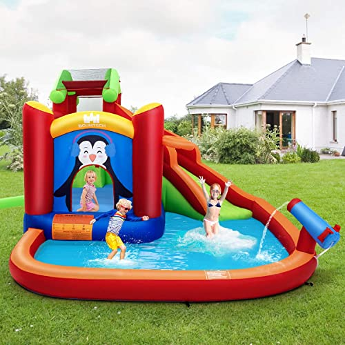 BOUNTECH-Inflatable-Water-Slide,-6-in-1-Jumping-Bounce-House-w/-Climbing-Wall