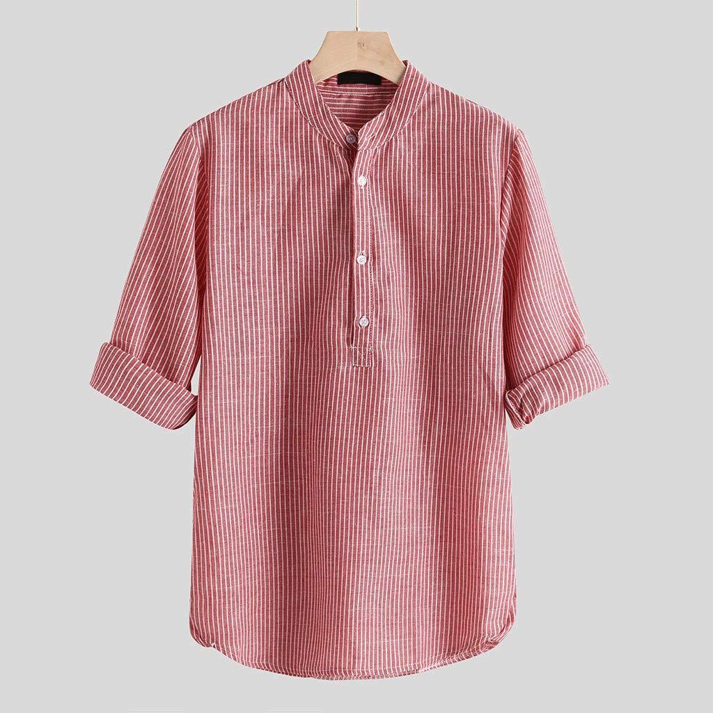 BHYDRY Mens Casual Leinen Knopf Einfache Langarm Streifen Lose T-Shirt Bluse Top