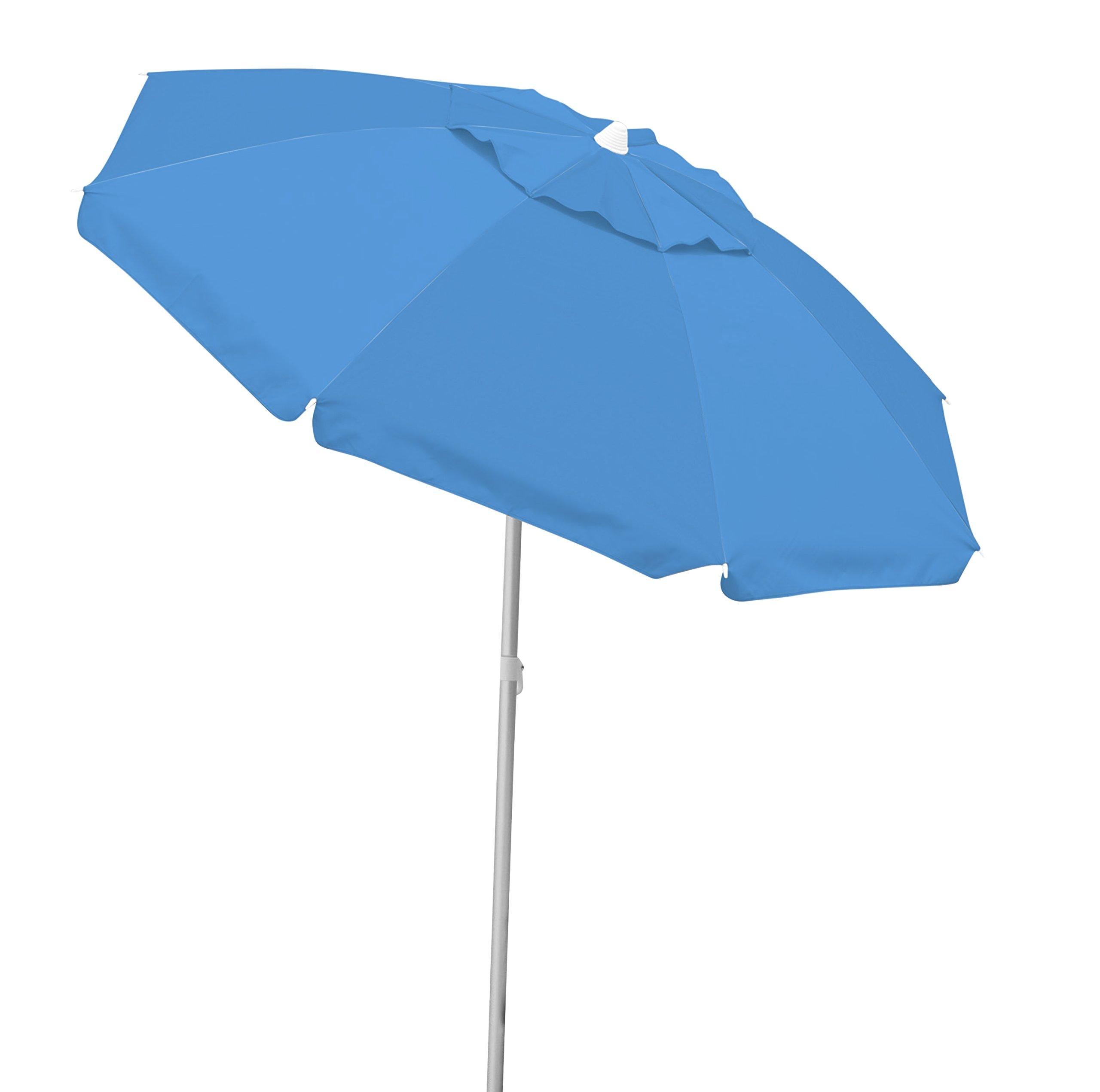 Caribbean Joe Tilting Beach Umbrella Double Canopy Windproof Design with UV Protection, Blue, 6.5' by Caribbean Joe