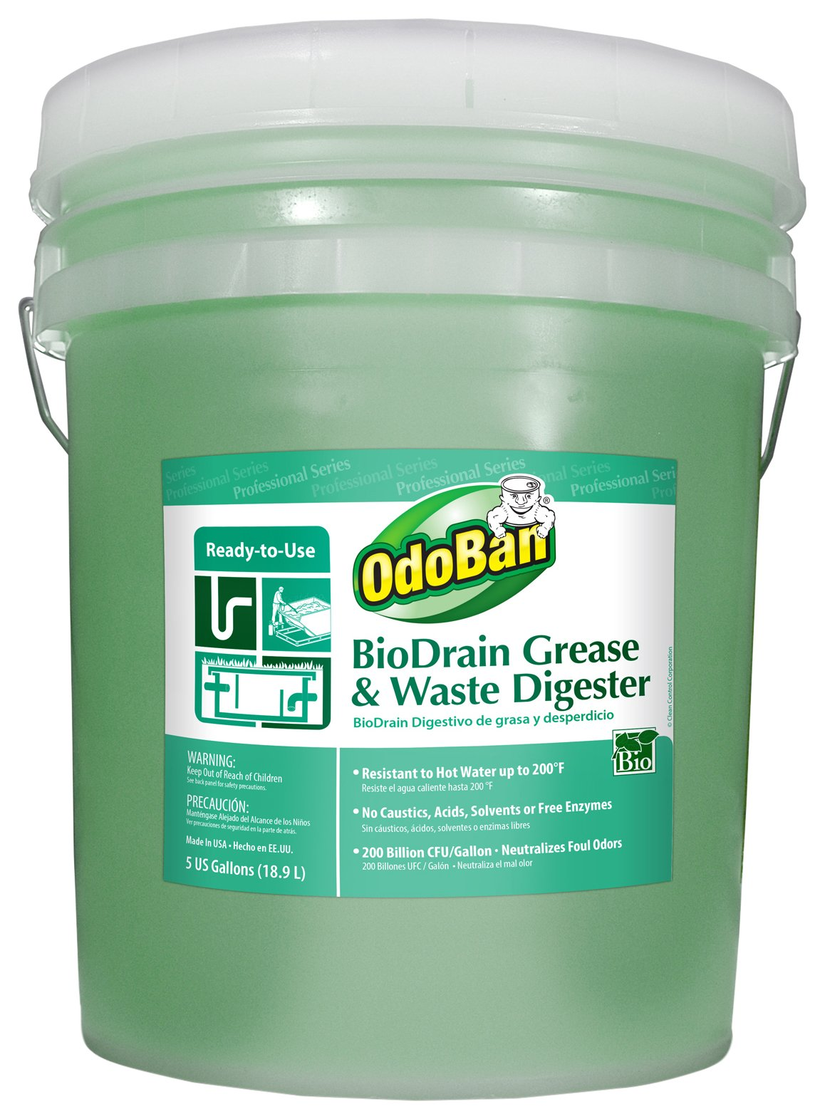 OdoBan 928062-5G BioDrain Grease and Waste Digester Pail, 5 gal