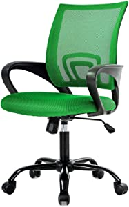 Simple Home Ergonomic Desk Office Chair Mesh Computer Chair, Lumbar Support Modern Executive Adjustable Stool Rolling Swivel Chair for Back Pain, Chic Modern Best Home Computer Office Chair - Green