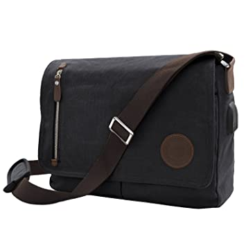 cd359df845d0 WinCret Messenger Bag Fits 15.6 quot  14 quot  Laptop with USB Charging  Cable for Work