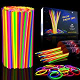 Myamy Glow Sticks in Bulk 300 Count for Party and Halloween Favors - 8'' Glow in The Dark Lights Toys Great to Make Tons of Glow Necklaces and Glow Bracelets (3 Tubes of 100)