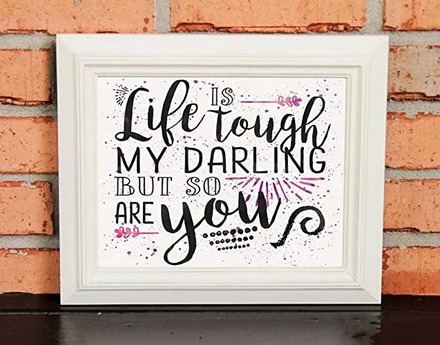 Amazoncom Inspirational Quotes Wall Art Gift Life Is Tough