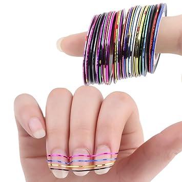 Amazon 30 Set Mixed Colorful Rolls Striping Nail Art Stickers
