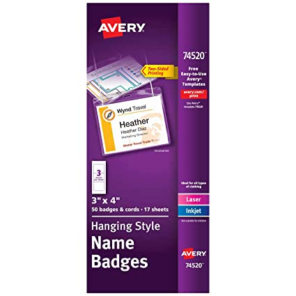 amazon com avery name badges with lanyards print or write 3 x 4