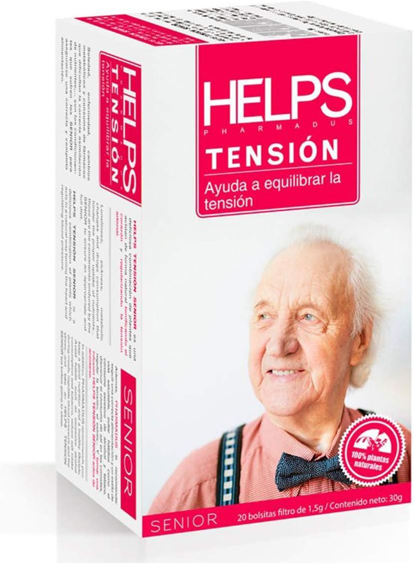 HELPS INFUSIONES - Infusión De Olivo, Flores De Azahar, Tila Y Cola De Caballo Para Mejorar La Tensión Arterial. Helps Tensión. Caja De 20 Bolsitas.