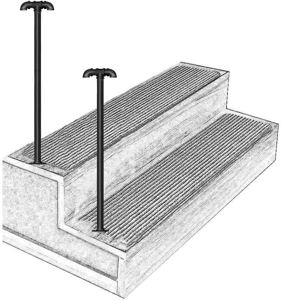 YERT- Barandilla de Hierro Forjado, Adecuada para barandilla de Escalera de Hierro Forjado de 1 escalón, Tubo de Acero galvanizado Negro, barandilla de escalón Exterior con Kit de ins