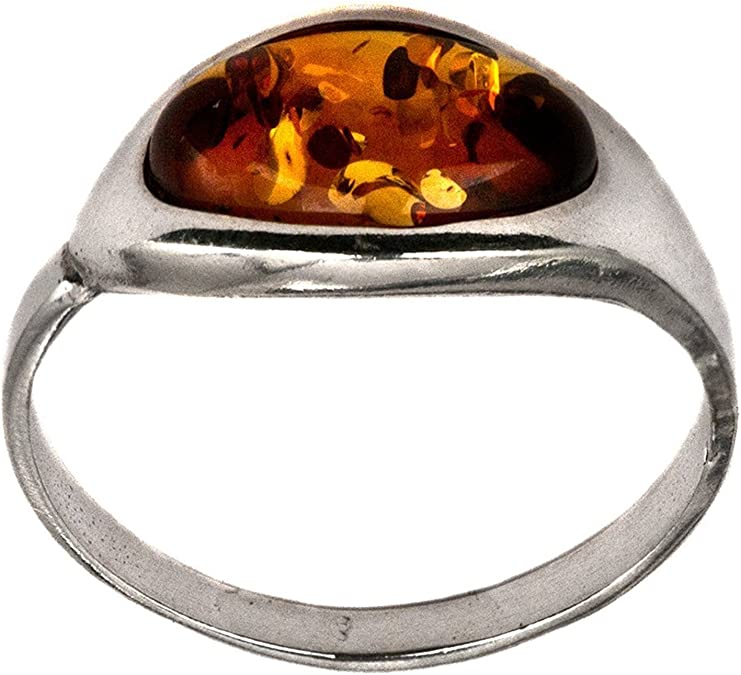 18x25mm classic honey Oval amber resin imitation ring caramel on serrated oval tray holder in adjustable silver metal