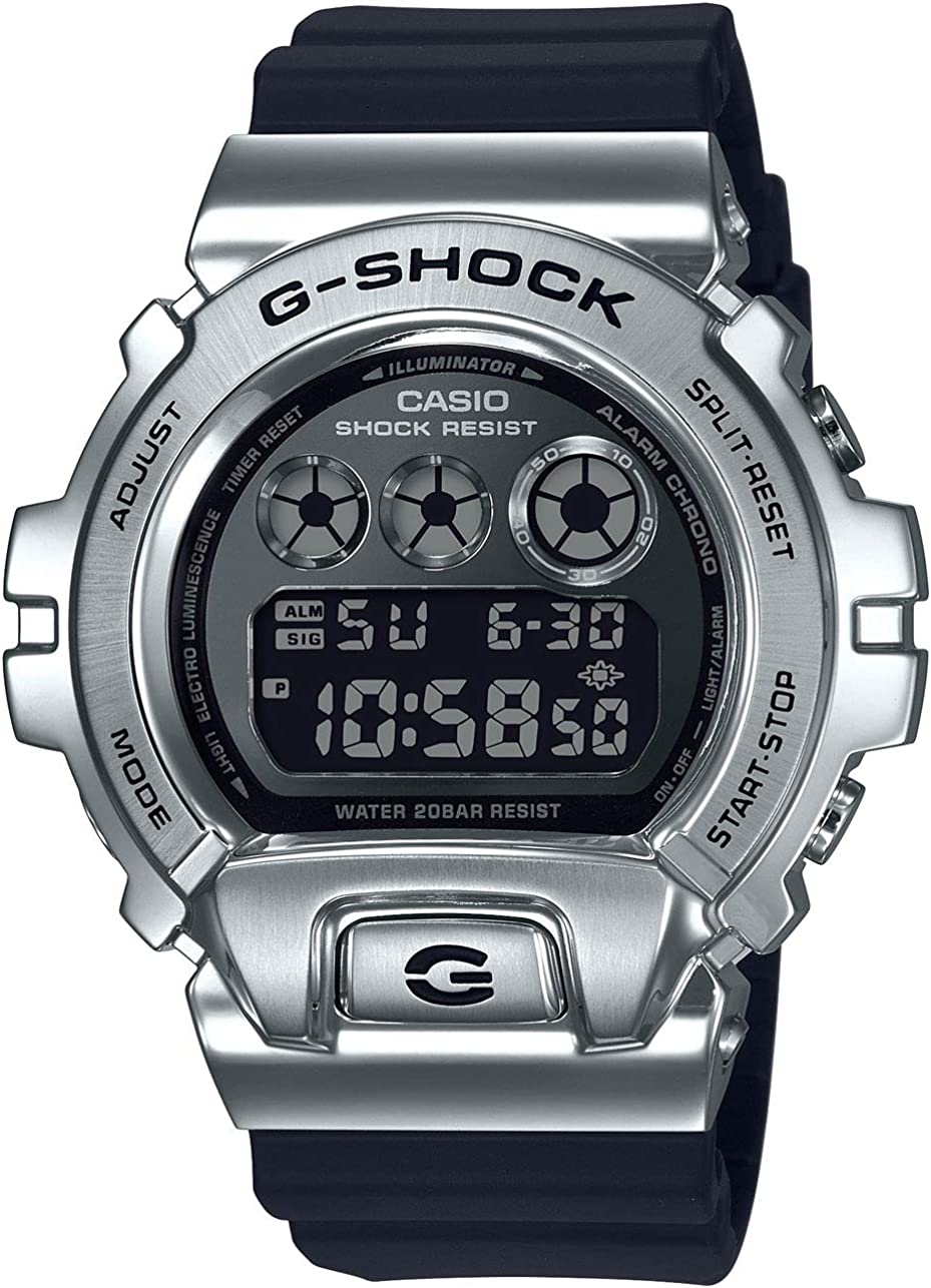 Amazon Com Men S Casio G Shock 25th Anniversary Limited Edition Digital Stainless Steel And Black Resin Strap Watch Gm6900 1 G Shock Watches