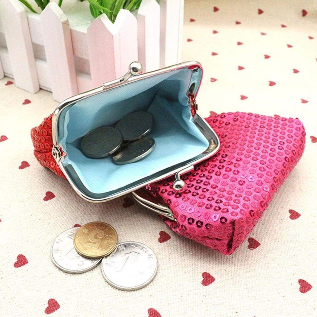 Pinsparkle Women Mini Solid Sequins Button Closure Coin Purse Handbag Coin Purses & Pouches