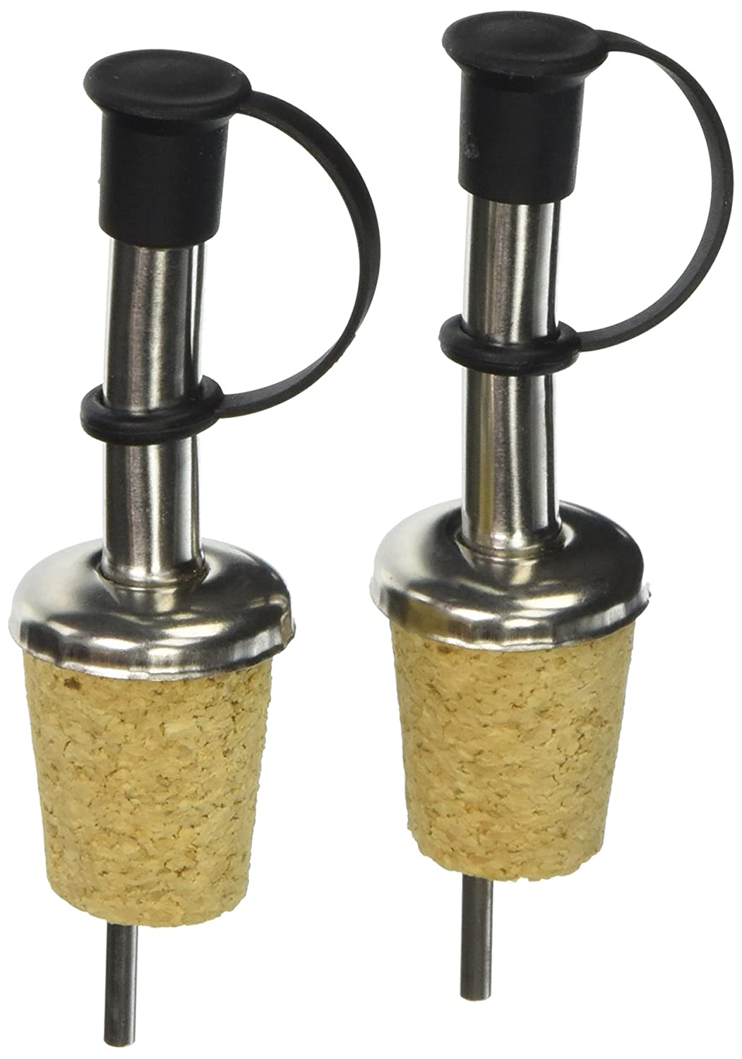 Southern Homewares Stainless Steel Capped Free Flow Pourer with Wine Liquor Bottle Cork Stopper 2-Pack SH-10006-S2 Silver