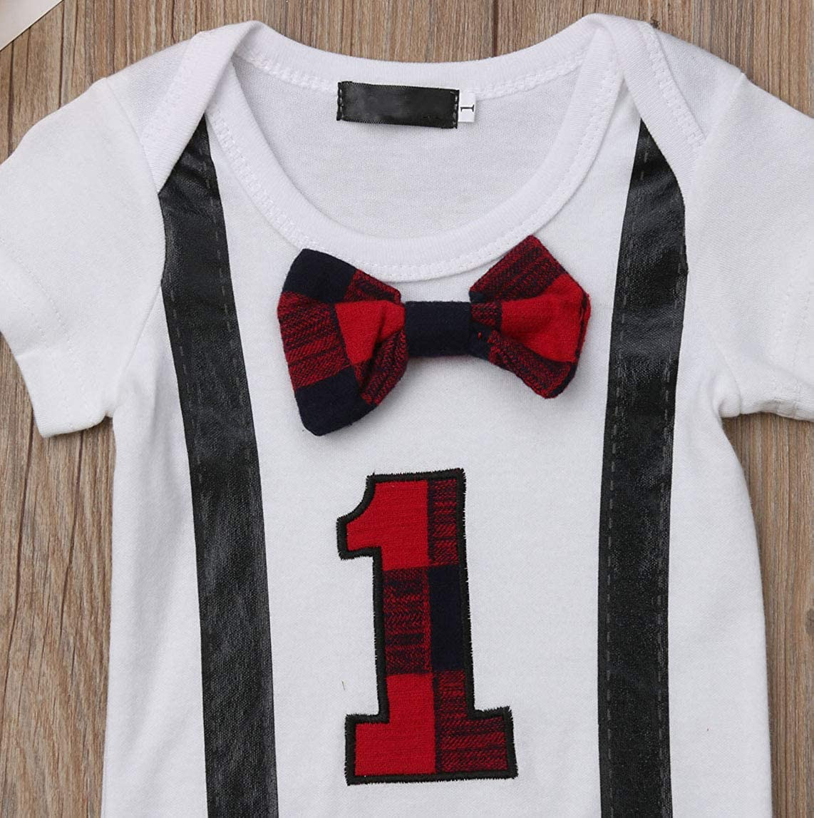 rechange Newborn Infant Baby Boy 1st Birthday Gentleman Bowtie Short Sleeve Romper Bodysuit