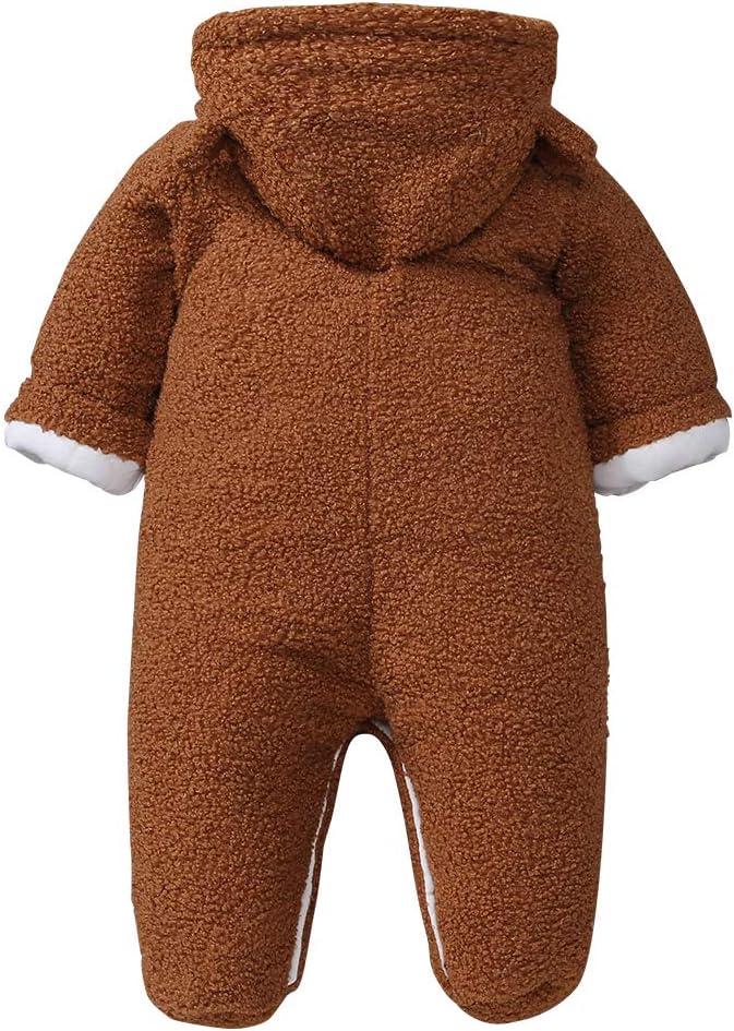 WYTbaby Bambino Tute da Neve con Cappuccio Neonato Inverno Pagliaccetto Tutina in Pile Pulsante Frontale