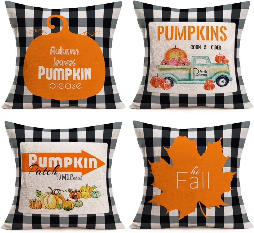 Gulidi Pack of 4 Fall Buffalo Plaids Pumpkin Patch Leaves Harvest Truck Cotton Linen Throw Pillow Case Farmhouse Decorative Autumn Holiday Blessings Cushion Cover 18x18 Inch Thanksgiving Decorations