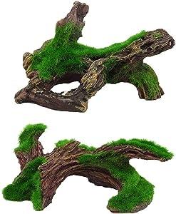 Hamiledyi Aquarium Driftwood Artificial Resin Aquarium Log Moss Tree Decaying Trunk for Fish Tank Wood Decoration 2 Pcs