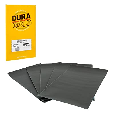 "Dura-Gold - Premium - Wet or Dry - 2000 Grit - Professional Cut to 5-1/2"" x 9"" Sheets - Color Sanding and Polishing for Automotive and Woodworking - Box of 25 Sandpaper Finishing Sheets: Automotive"