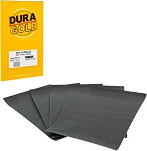 """Dura-Gold - Premium - Wet or Dry - 2000 Grit - Professional Cut to 5-1/2"""" x 9"""" Sheets - Color Sanding and Polishing for Automotive and Woodworking - Box of 25 Sandpaper Finishing Sheets"""