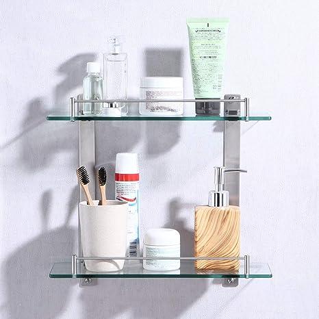 Amazon.com: KES estante de vidrio de pared, para ...