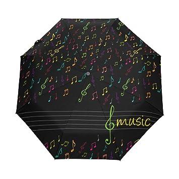 BENNIGIRY Colorido Nota Musical automático 3 Plegable sombrilla Protección Solar Paraguas Anti-UV para Mujer
