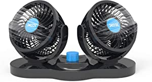 12V Car Fans, XOOL Cooling Air Fan Powerful Dashboard Electric Car Fan Cigarette Lighter Low Noise 360 Degree Rotatable for Truck Vehicle Boat Van SUV RV