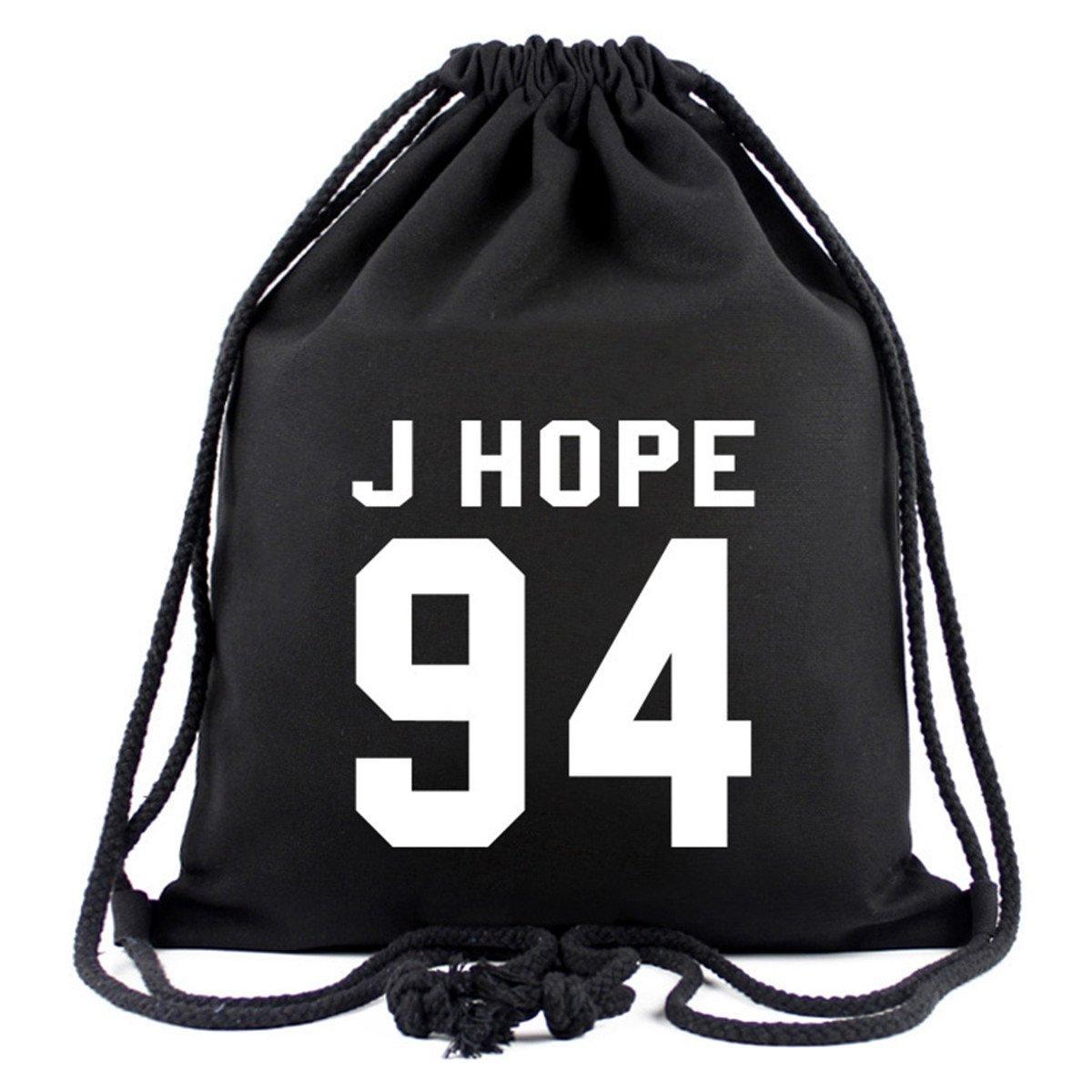 SIMYJOY BTS Fans Toile Sacs à cordon KPOP Sac à Dos Cool Casual Sac de gym Sport Voyage Jimin V Jung Kook