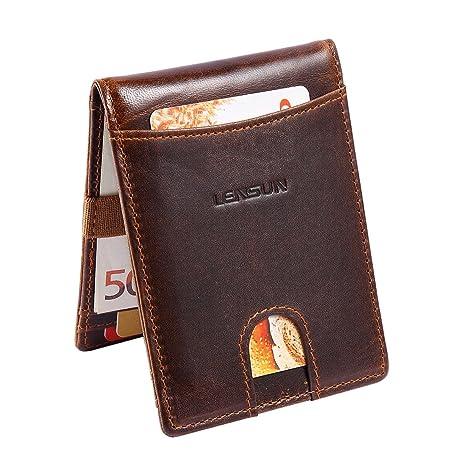 5254506bb4ca4c Lensun Portafoglio Uomo Sottile Vera Pelle, RFID Blocco Piccolo Porta Carte  di Credito | Portafogli