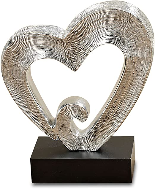 Brilliant Silver 10 1//2 Inches Tall 27cm Black Gallery Base Incised Lines Decorative Modern Sculpture WHW Whole House Worlds White Nights Infinite Heart Hand Cast 7.44 Poly Resin