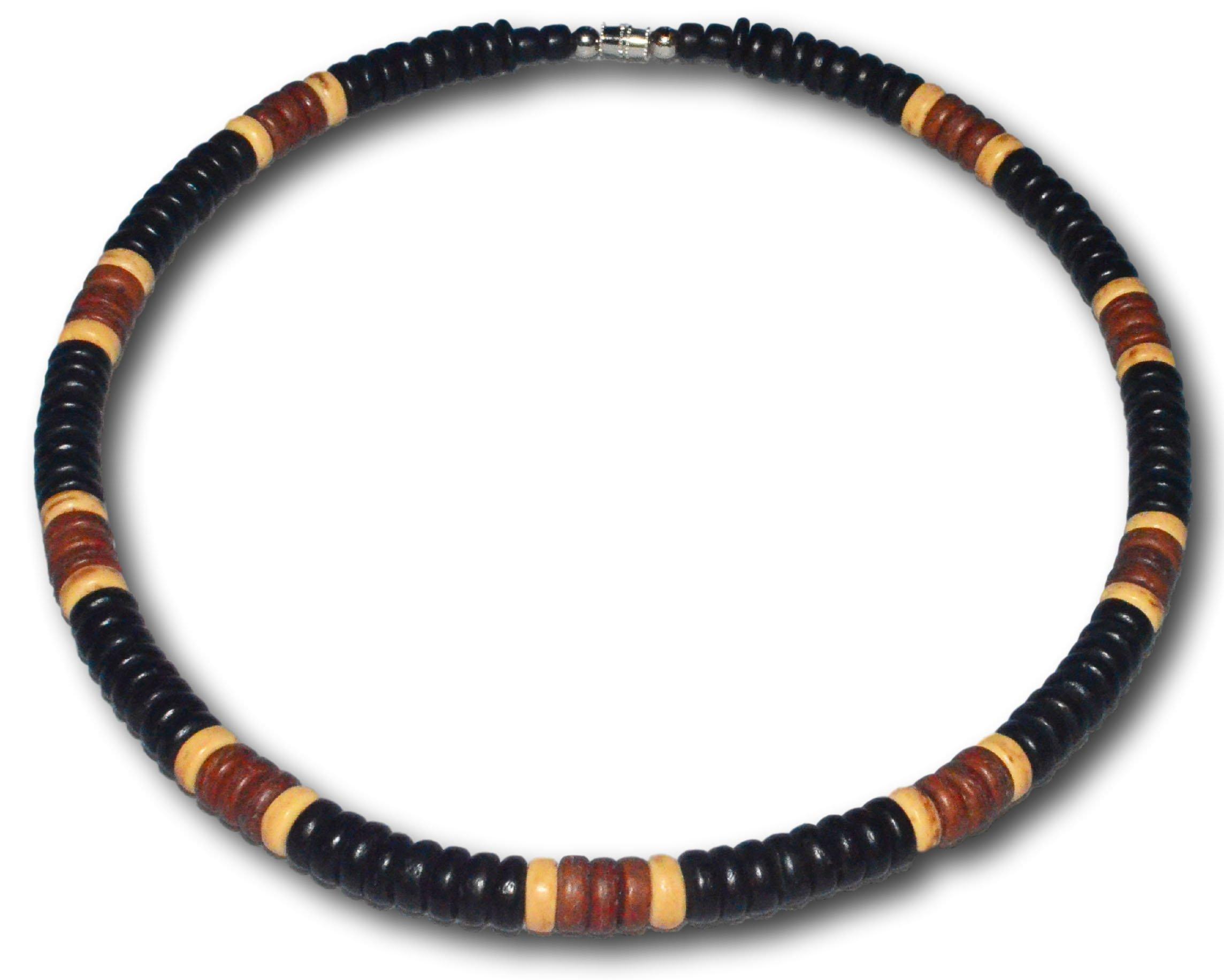 Native Treasure - ''Soho'' Black, Brown Coco Shell Surfer Necklace - 8mm (5/16'') (24)
