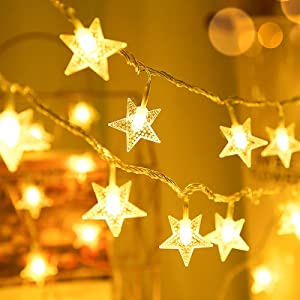 NITIDSKY Christmas Star String Lights, 30 LED Twinkle Lights for Bedroom Decor Indoor Outdoor Christmas Fairy Light Twinkle for Thanksgiving Home Wall Garden Decorations Waterproof Warm White