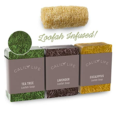 Calily Life Natural Luffa Soap Set Exfoliating Moisturizing Shower and Bath Soap Loofah Body Scrub Exfoliator Lavender, Eucalyptus and Tea Tree Essential Oil Infused Soap with Natural Luffah sponge