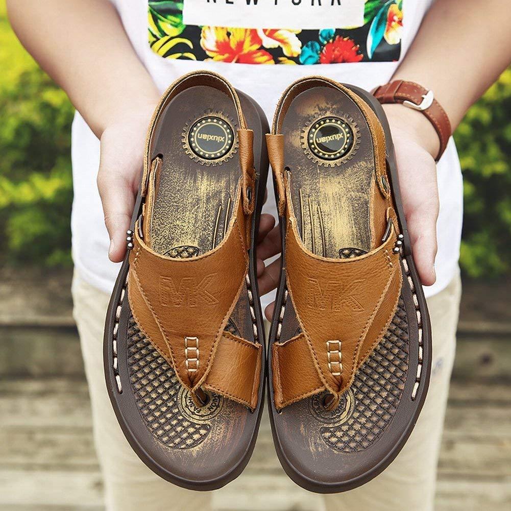 FuweiEncore Herren-Leder-Hausschuhe Trend-Manual-Strand-Schuhe Anti-Rutsch-Verschleiß-Resistent Clip Toe Flip-Flop Dual-Use-Männersandalen Dual-Use-Männersandalen Dual-Use-Männersandalen (Farbe   Gelb, Größe   42) 63c14c