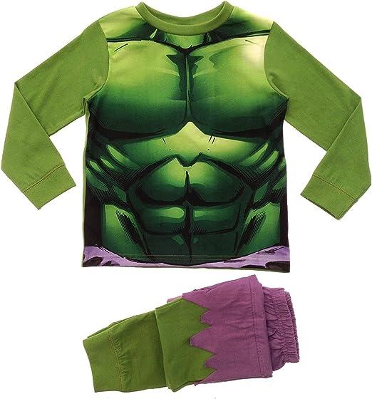 Pijama de Personaje de Novedad para niños. - Edad 12 Meses - 8 años Superhéroes y Villanos (7-8 años/hasta 128 cm, Hulk)