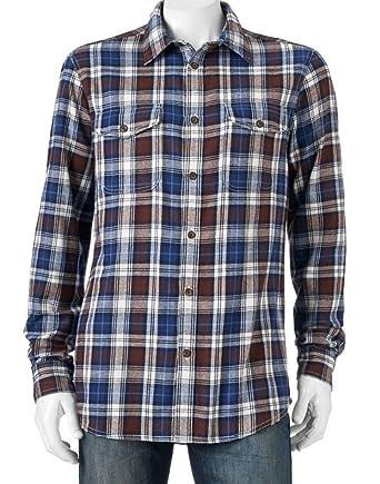 d99da797 Sonoma Men's Flannel Shirt Blue Brown Tartan Plaid (XXL) at Amazon ...