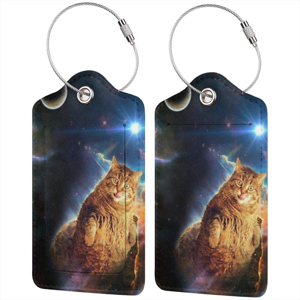 Luggage Tags Leather Case Suitcase Label With Stainless Steel Loop Bag Baggage Tote Tags Travel Tags Cats From Outer Space set of 4