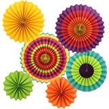 Zicome 6 Pack Fiesta Paper Fans Decorations for Party Decor