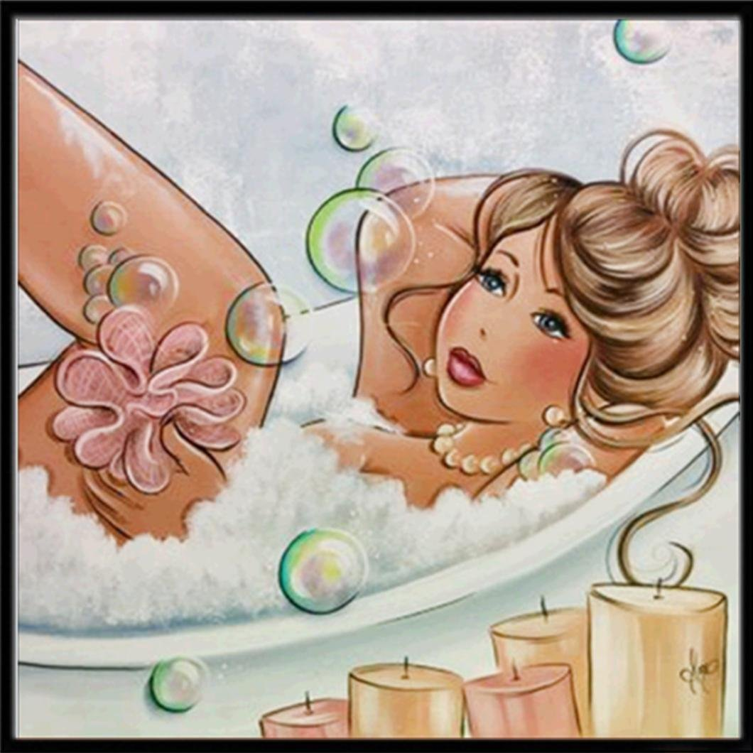 Fat Woman Taking a Shower Diamond Rhinestone Pasted Embroidery Painting Cross Stitch Home Decor Bedroom Living Room (Multicolor)