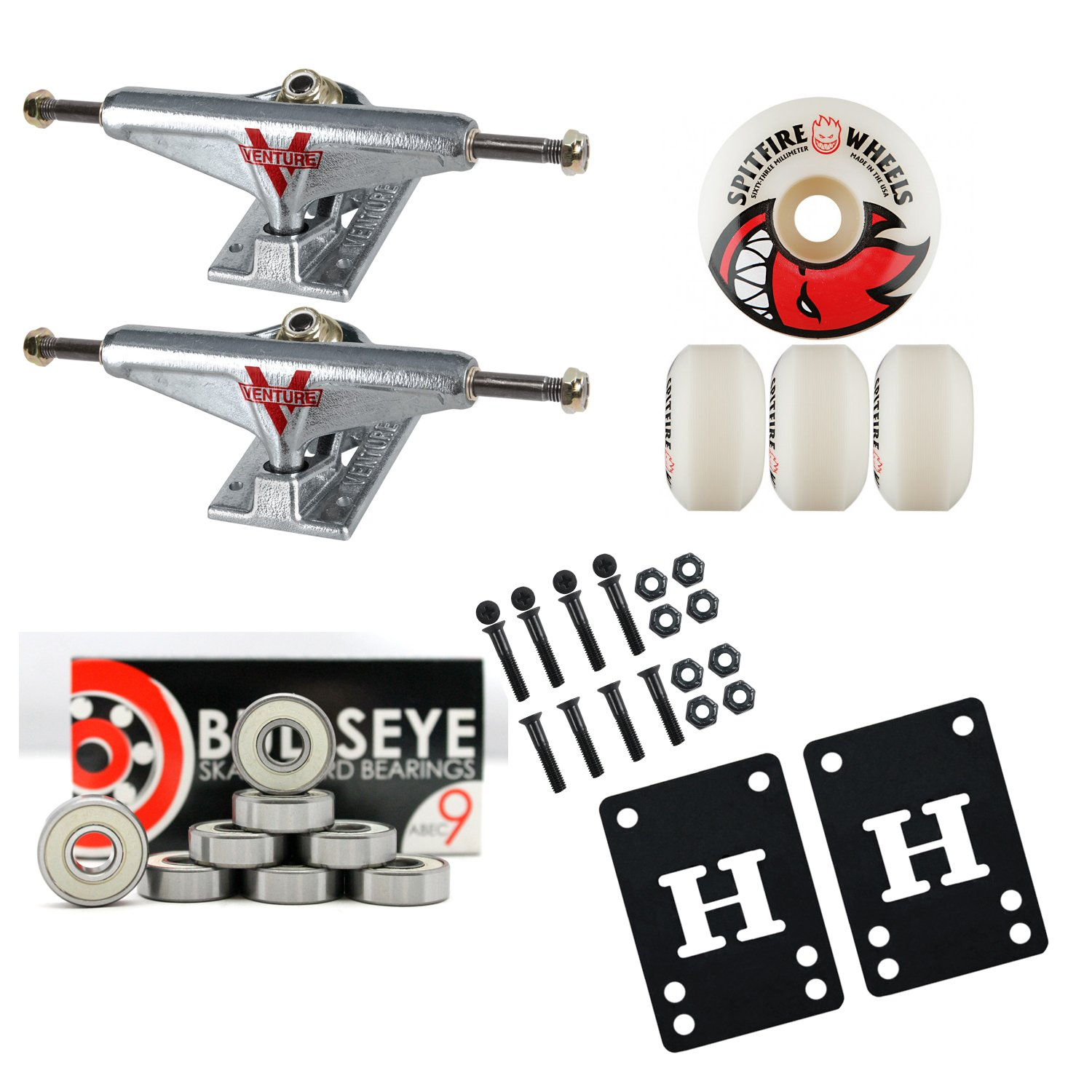 VENTURE Skateboard TRUCKS 52mm SPITFIRE Wheels PACKAGE