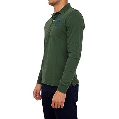 La Martina Hombres Camisa Polo de Manga Larga Milo Verde Oscuro M ...