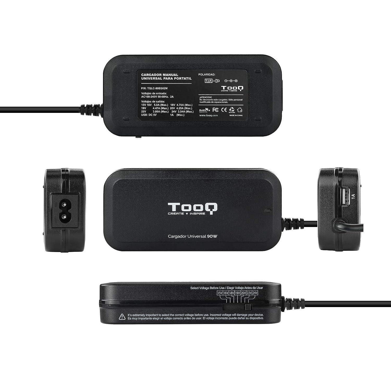 TooQ TQLC-90BS02M - Cargador adaptador universal de 90 W para ordenador portatil, Salida USB para cargar dispositivos, incluye 12 conectores ...