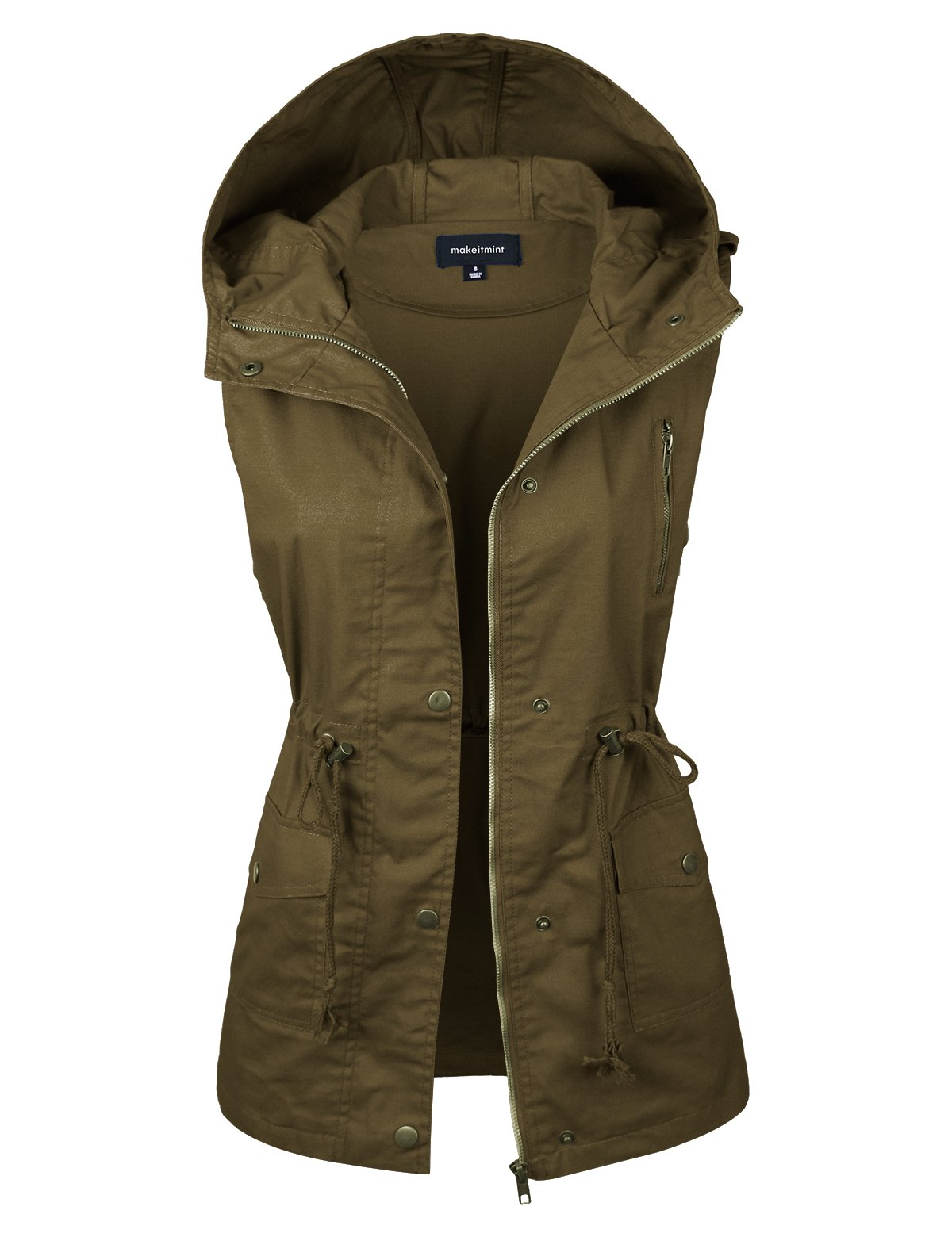 makeitmint Women's Hooded Utility Pocket Anorak Jacket Vest [S-3XL/9 Colors] YJV0018-43DKOLIVE-1XL