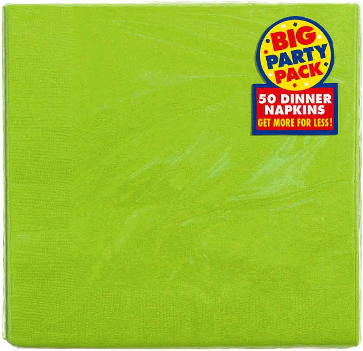Amscan 2-Ply Kiwi Green Dinner Napkins, 50 Ct.   Party Tableware,7 3/4