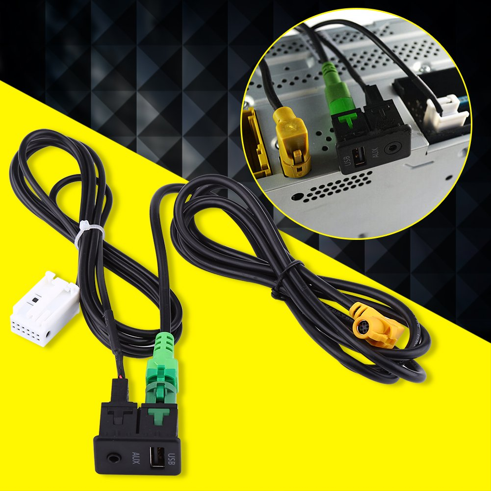 Cable adaptador USB para coche Keenso 1.5m PVC Pl/ástico SB AUX Interruptor Enchufe Adaptador de cable de mazo de cables para 5 Series E87 E90 E91 E92 X5 X6