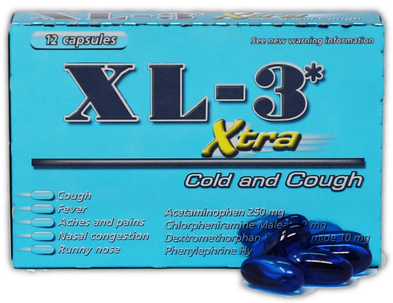 XL-3 Xtra Cold and Cough Medicine | Non-Drowsy Fast Acting Strong Cough and Cold Symptom Relief of Cough, Fever, Nasal Congestion, Sneezing, Aches and Pains; 12 Capsules